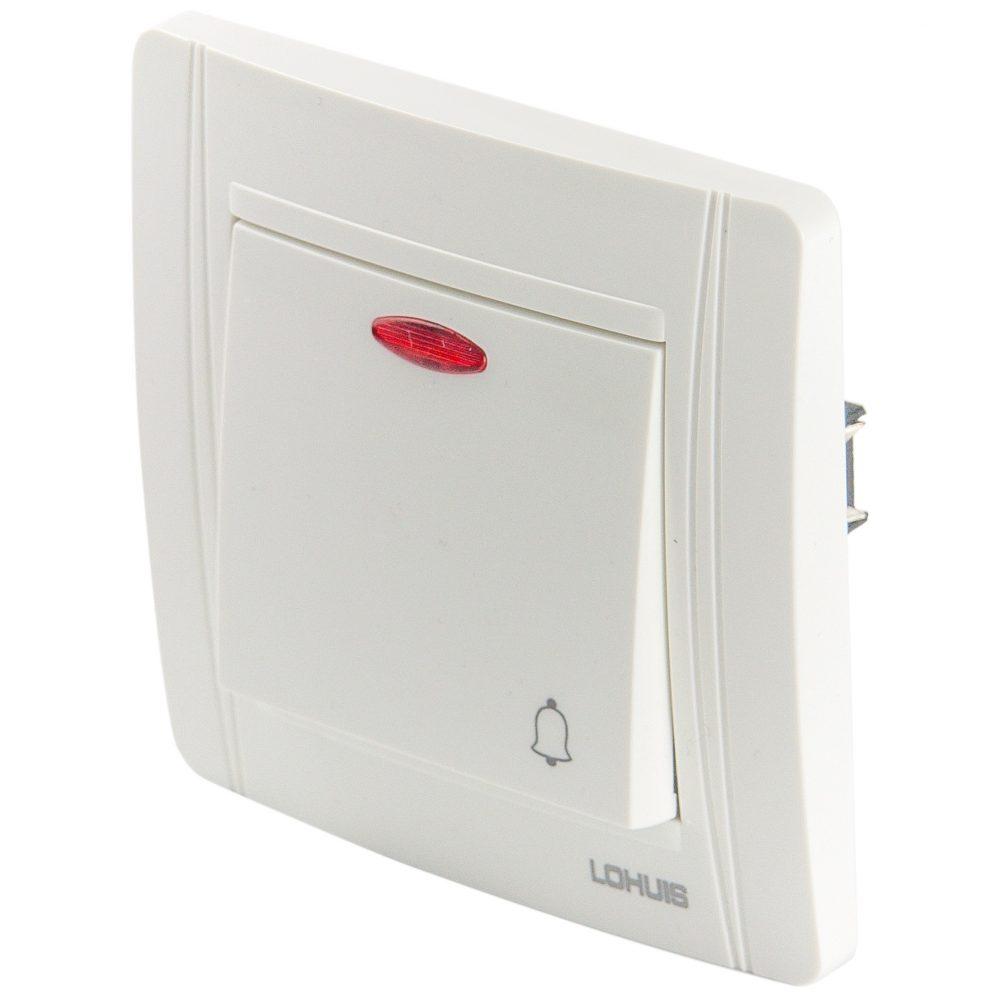 Intrerupator sonerie cu LED LOHUIS seria N, ingropat/ST, alb
