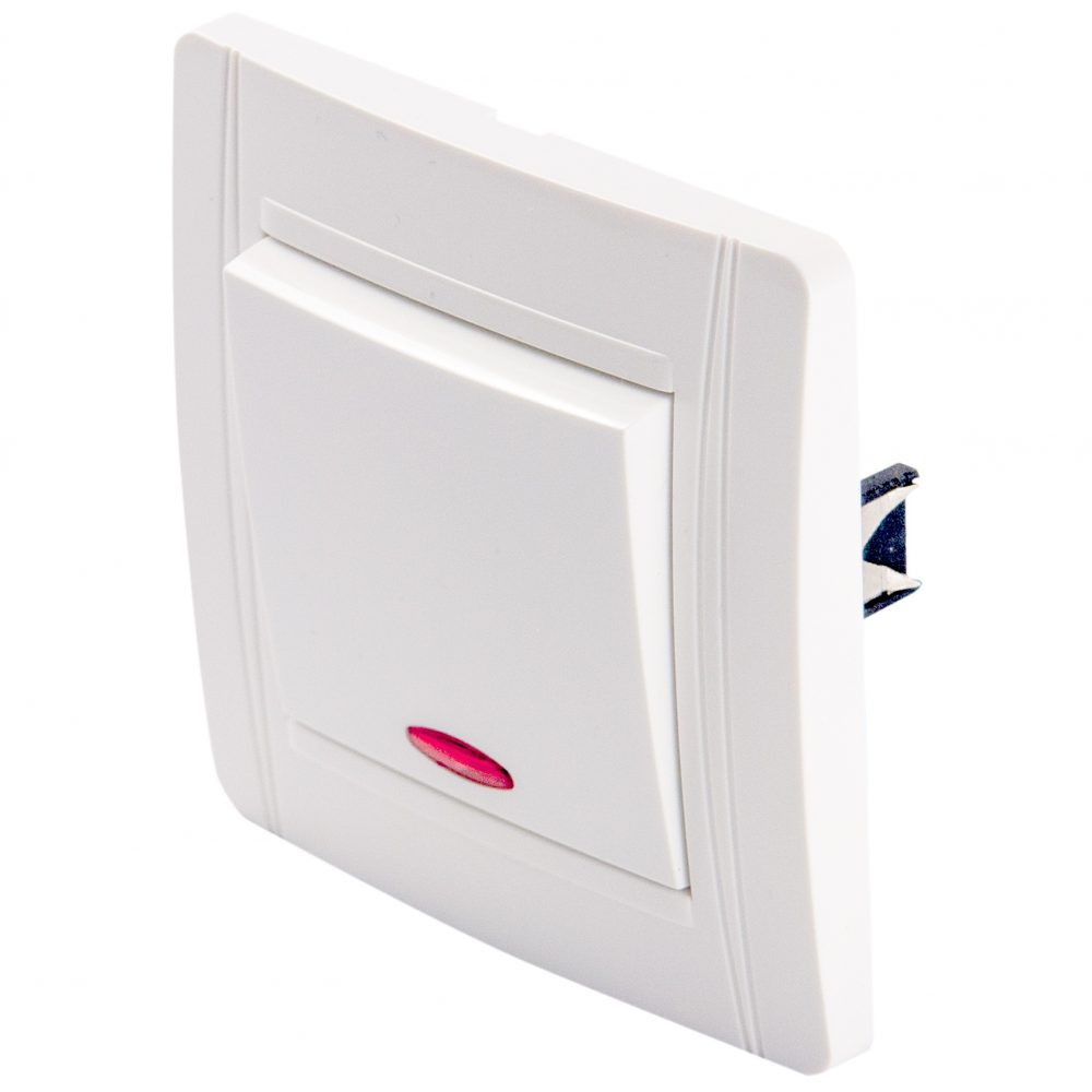 Intrerupator simplu cu LED LOHUIS seria N, ingropat/ST, alb