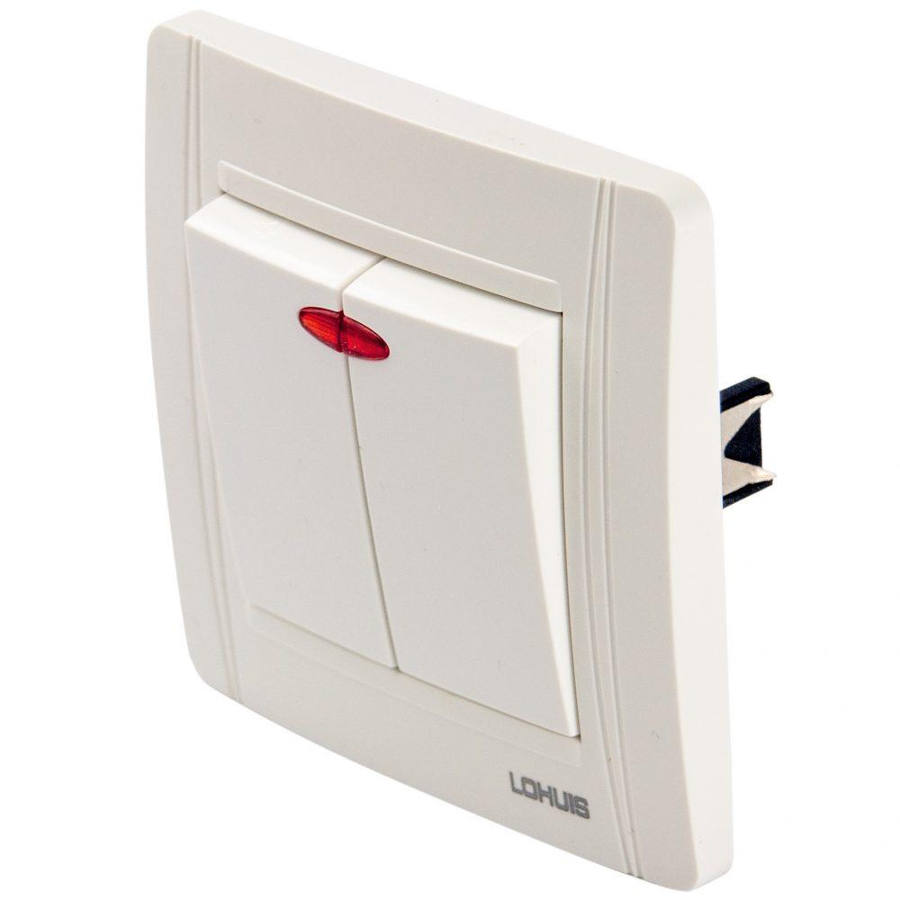 Intrerupator dublu cu LED LOHUIS seria N, ingropat/ST, alb