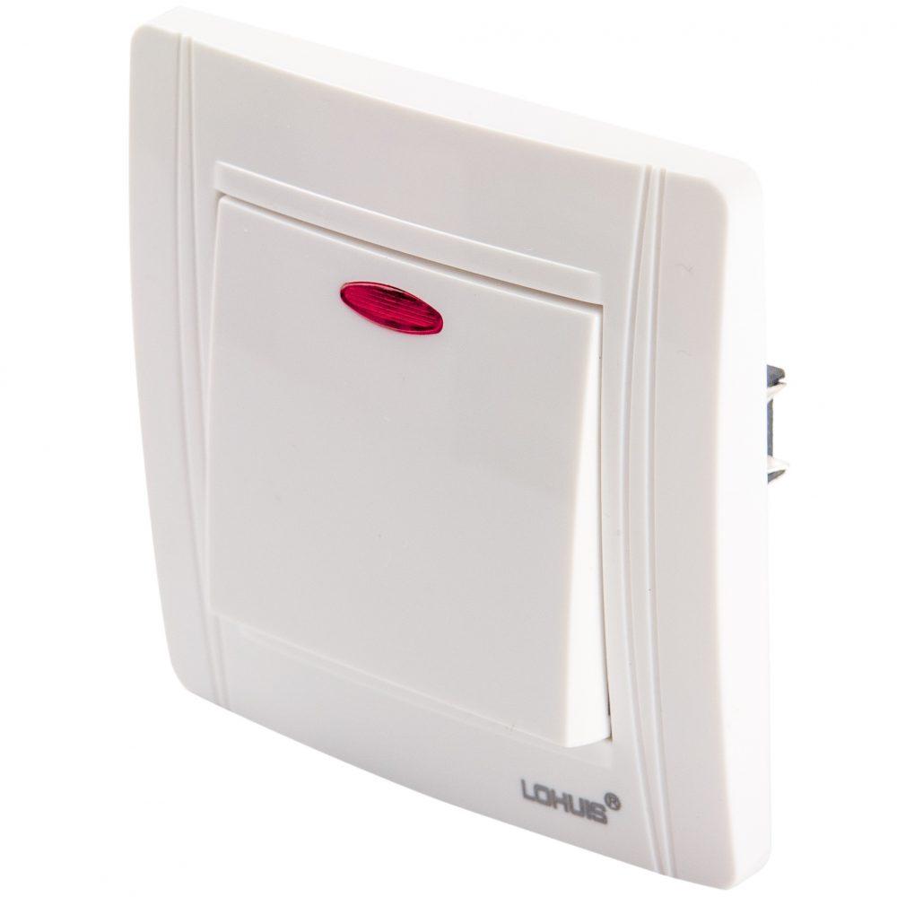 Intrerupator cap scara cu LED LOHUIS seria N, ingropat/ST, alb