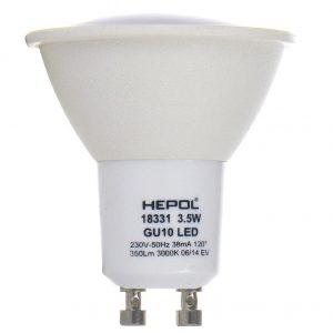 Bec LED HEPOL, forma spot, GU10, 3.5W, 30000 ore, lumina calda
