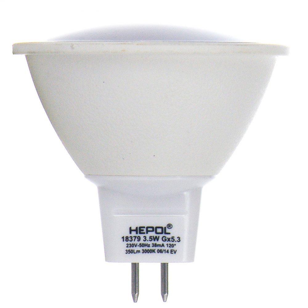 Bec LED HEPOL, forma spot, GU5.3, 3.5W, 30000 ore, lumina calda