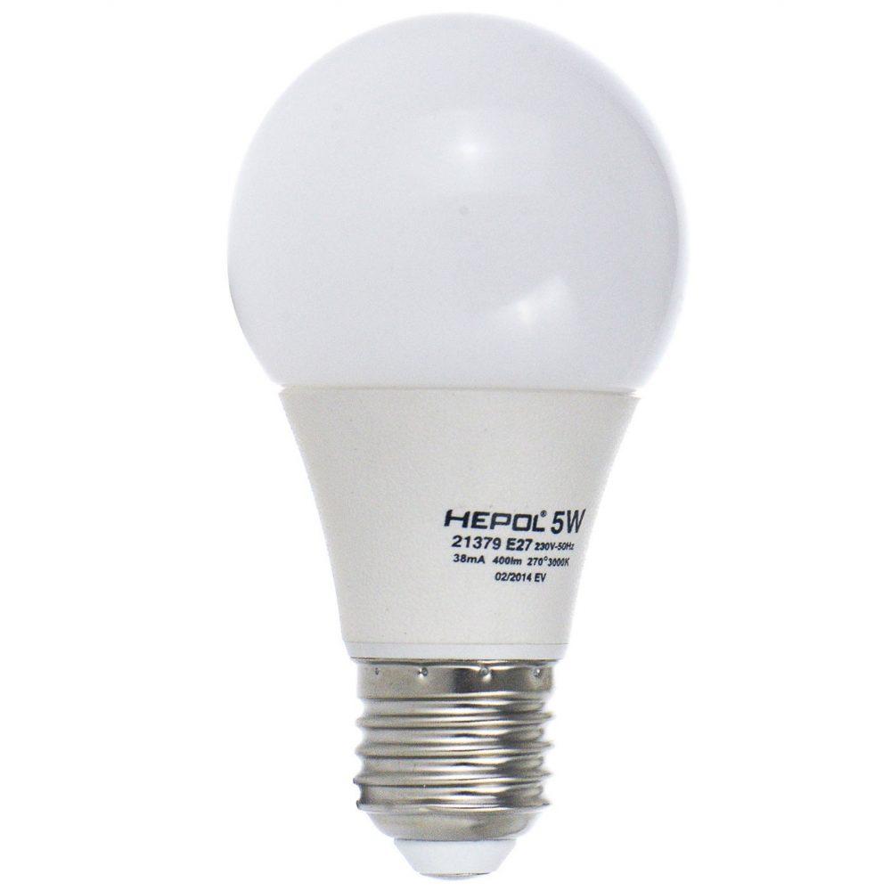 Bec LED HEPOL, forma A60, E27, 5W, 30000 ore, lumina calda