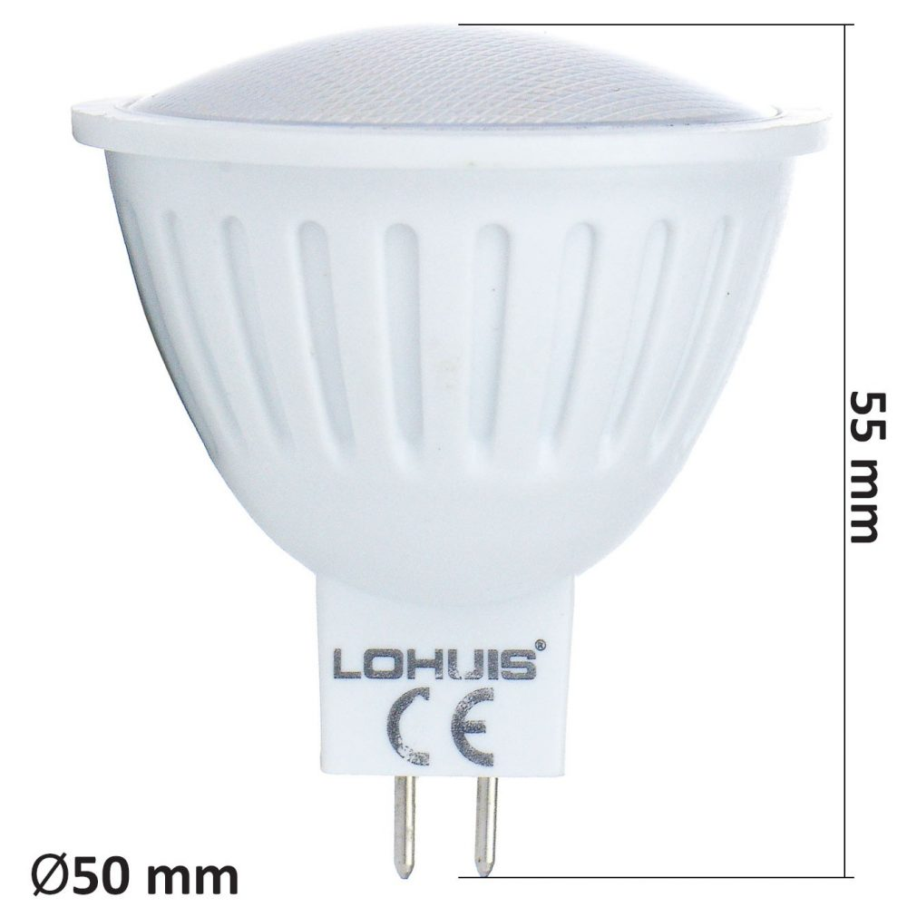 Bec LED LOHUIS ECOLINE, forma spot, GU5.3, 3.6W, 30000 ore, lumina rece