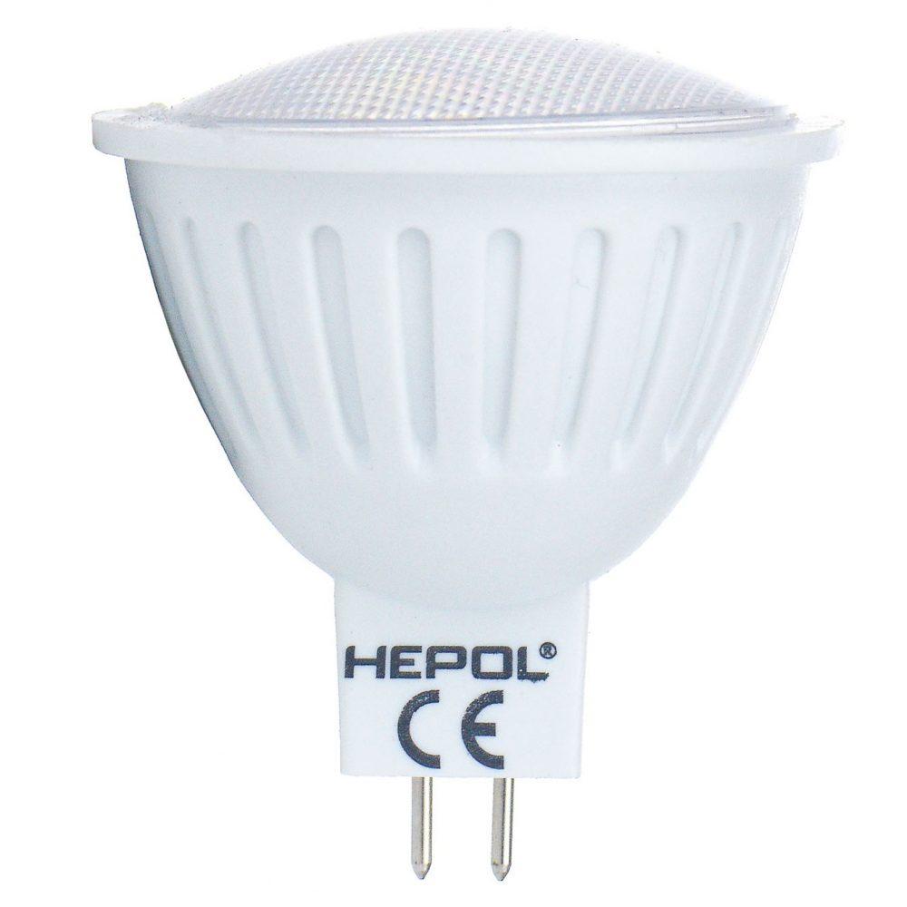 Bec LED HEPOL ECOLINE, forma spot, GU5.3, 3.6W, 30000 ore, lumina calda