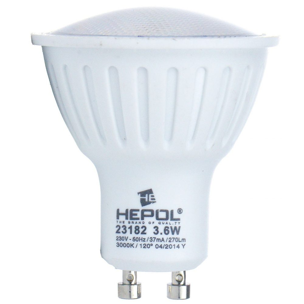 Bec LED HEPOL ECOLINE, forma spot, GU10, 3.6W, 30000 ore, lumina calda