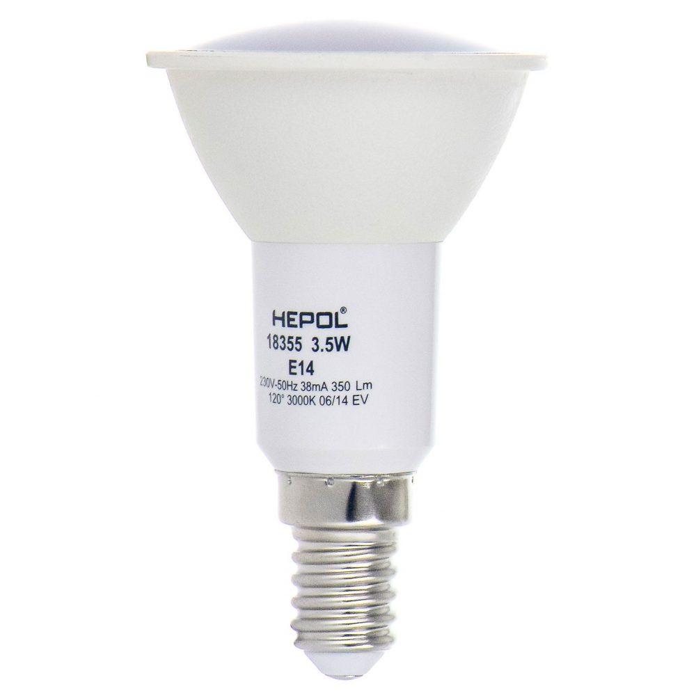 Bec LED HEPOL, forma spot, E14, 3.5W, 30000 ore, lumina calda