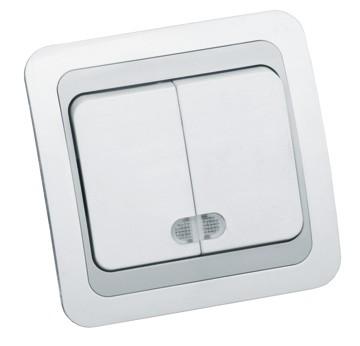 Intrerupator dublu cu LED LOHUIS WB, ingropat/ST, alb