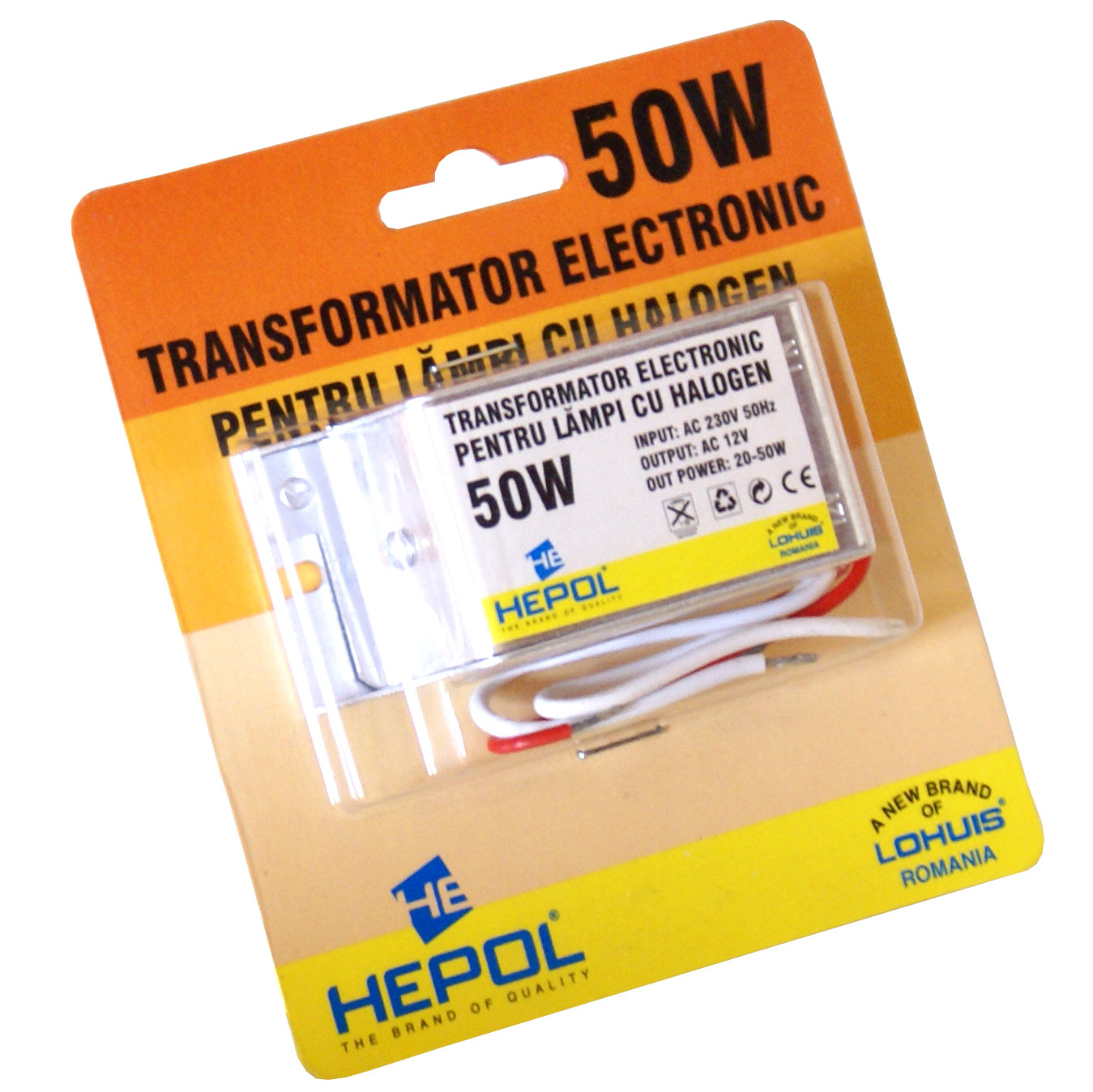 Transformator electronic HEPOL, pentru lampi cu halogen, 12V, 50W