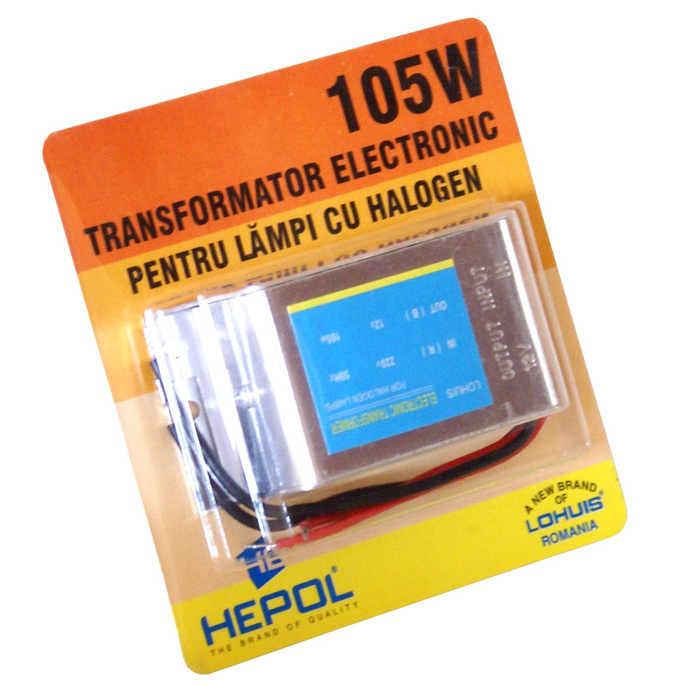 Transformator electronic HEPOL, pentru lampi cu halogen, 12V, 105W