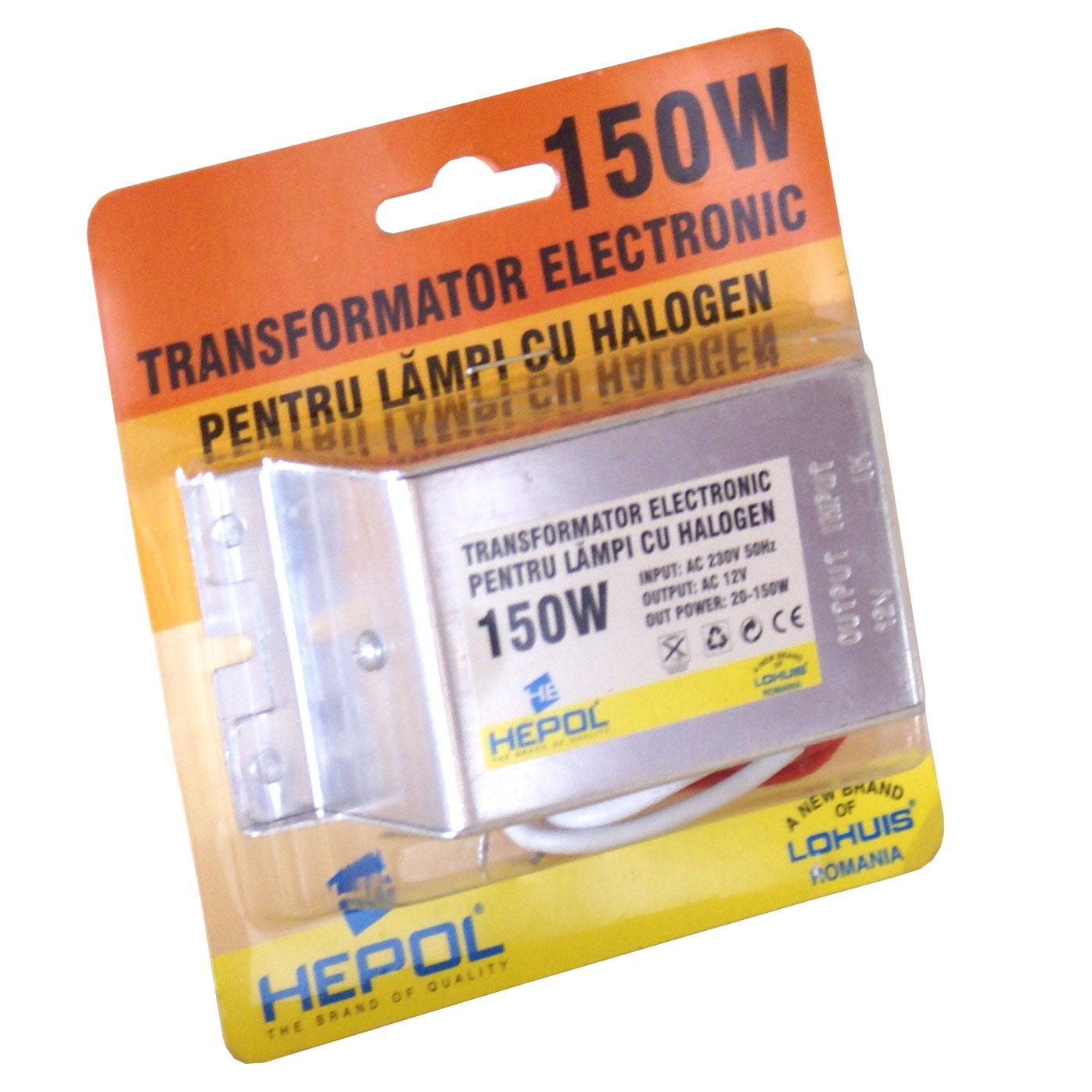 Transformator HEPOL, pentru becuri cu halogen 12V, 150W