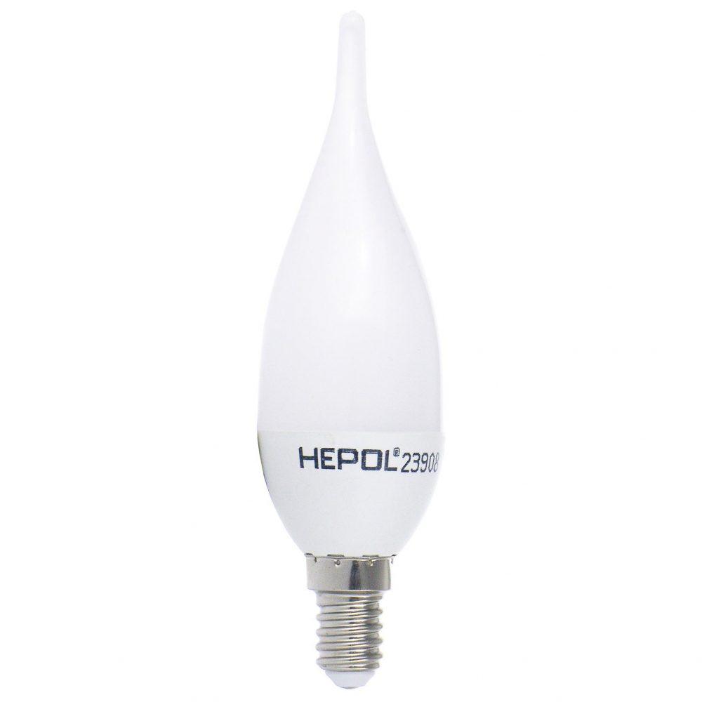 Bec LED HEPOL, forma lumanare fantezie, E14, 4W, 30000 ore, lumina calda