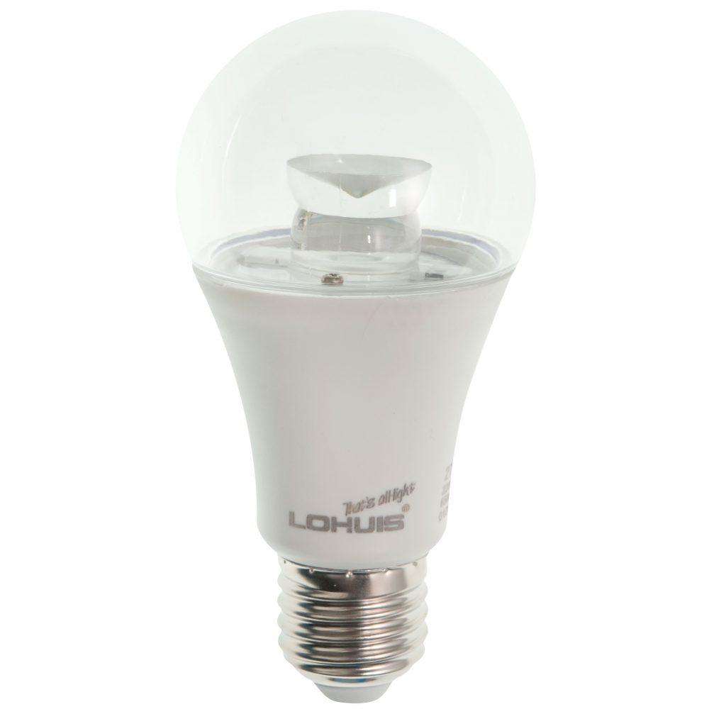 Bec LED LOHUIS, forma A60, transparent, E27, 9W, 30000 ore, lumina rece