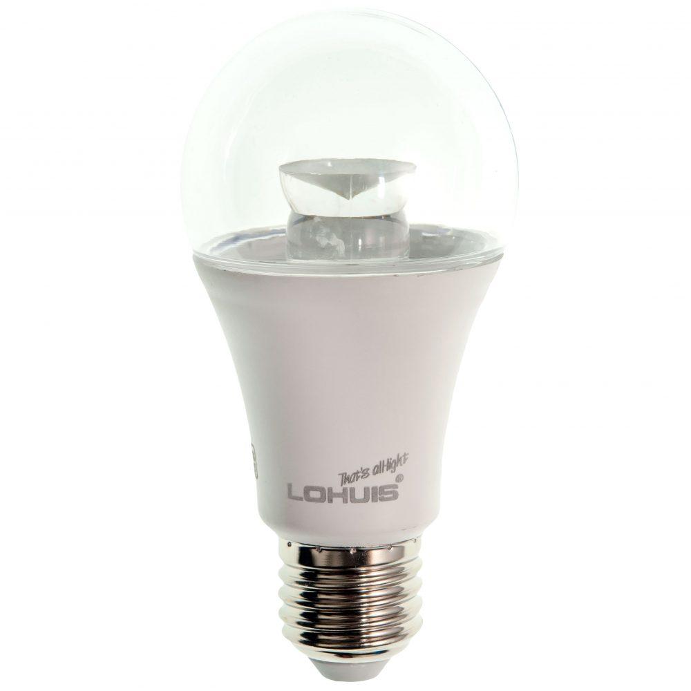 Bec LED LOHUIS, forma A60, transparent, E27, 7W, 30000 ore, lumina rece