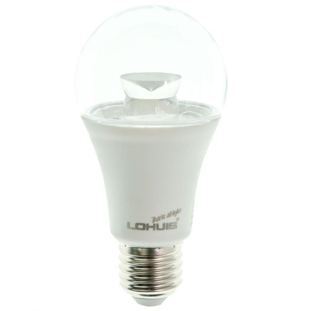 Bec LED LOHUIS, forma A60, transparent, E27, 5W, 30000 ore, lumina rece