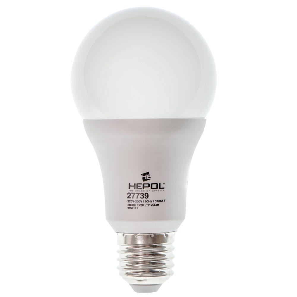 Bec LED HEPOL DIMABIL, forma A65, E27, 12W, 25000 ore, lumina calda