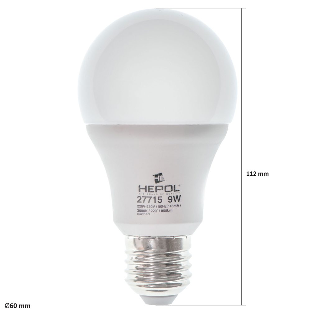 Bec LED HEPOL DIMABIL, forma A60, E27, 9W, 25000 ore, lumina calda