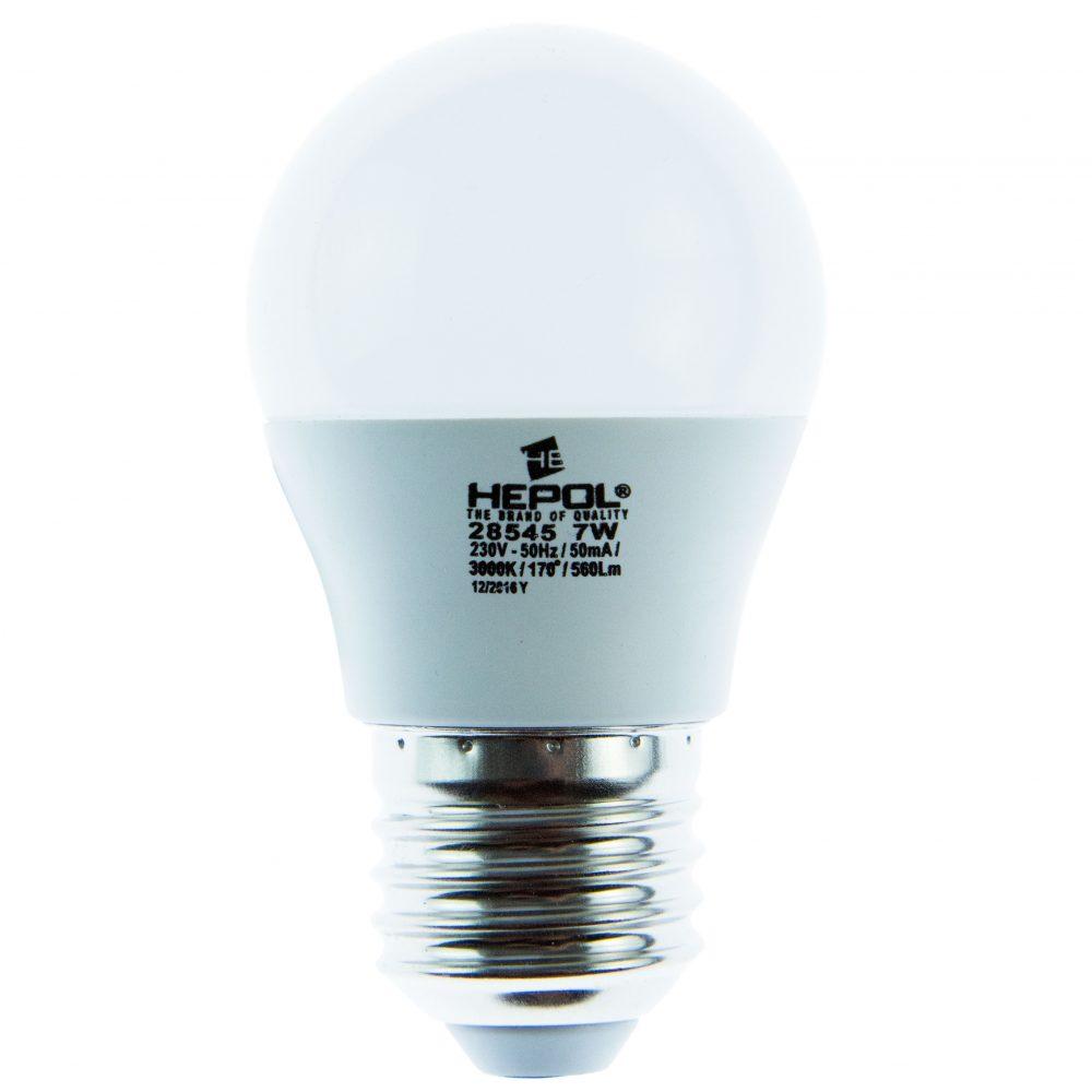 Bec LED ECOLINE HEPOL, forma sferic, E27, 7W, 20000 ore, lumina calda