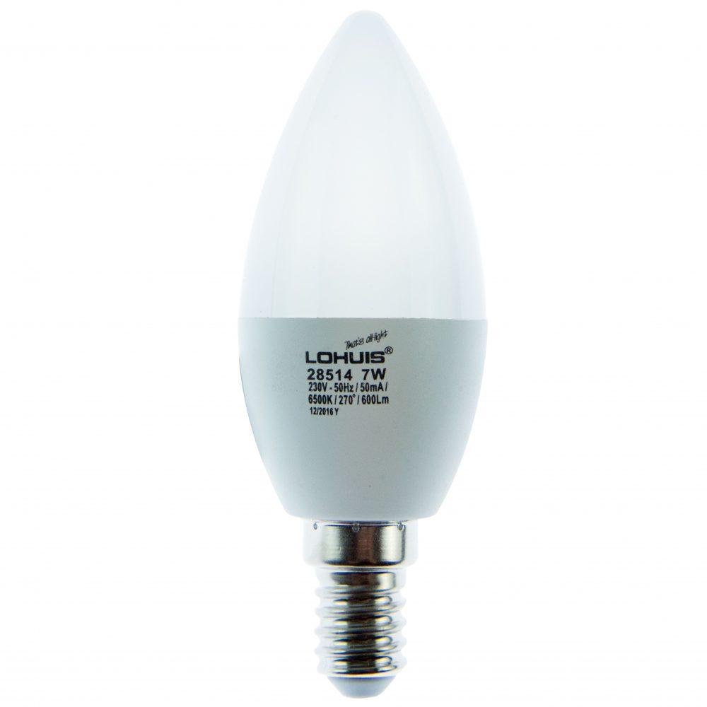 Bec LED ECOLINE LOHUIS, forma lumanare, E14, 7W, 20000 ore, lumina rece