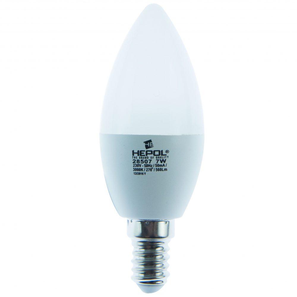 Bec LED ECOLINE HEPOL, forma lumanare, E14, 7W, 20000 ore, lumina calda