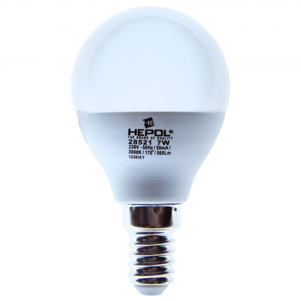 Bec LED ECOLINE HEPOL, forma sferic, E14, 7W, 20000 ore, lumina calda
