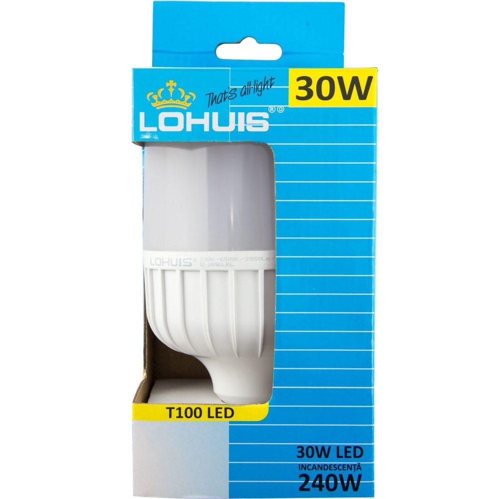 Bec LED T100 LOHUIS, forma tubulara, E27, 30W, 25000 ore, lumina rece