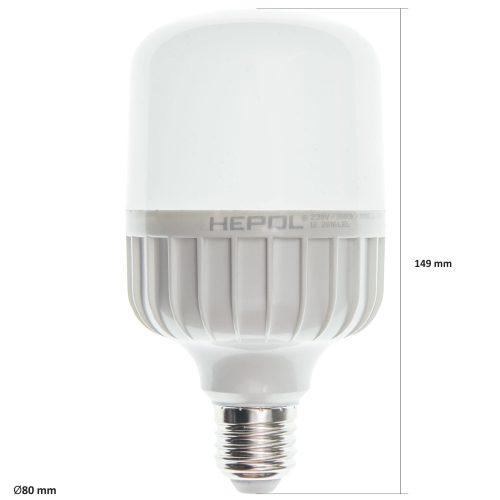 Bec LED T80 HEPOL, forma tubulara, E27, 20W, 25000 ore, lumina calda