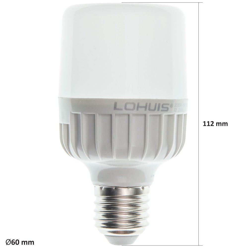 Bec LED T60 LOHUIS, forma tubulara, E27, 12W, 25000 ore, lumina rece