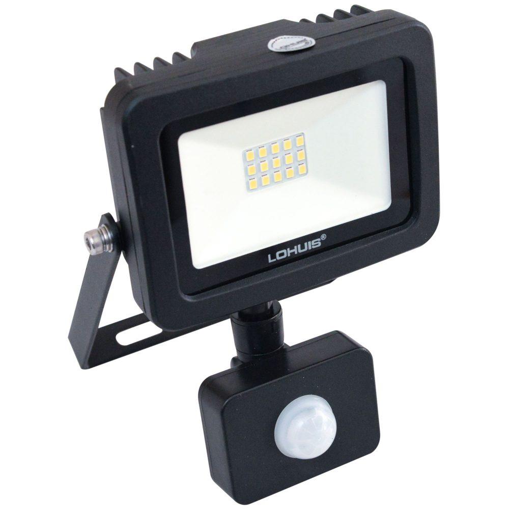 Proiector LED cu senzor de miscare LOHUIS, APOLLO, IP65, 10W, negru, lumina rece
