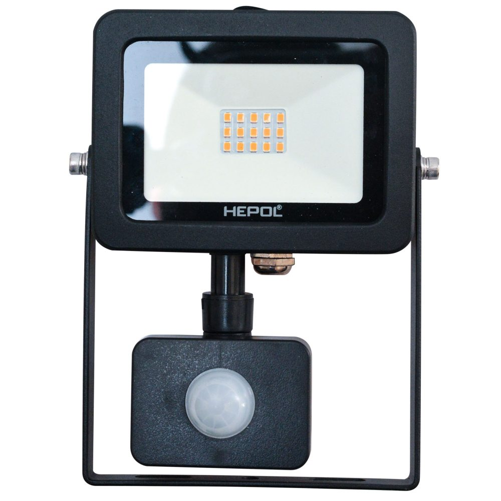 Proiector LED cu senzor de miscare HEPOL , APOLLO, IP65, 10W, negru, lumina calda