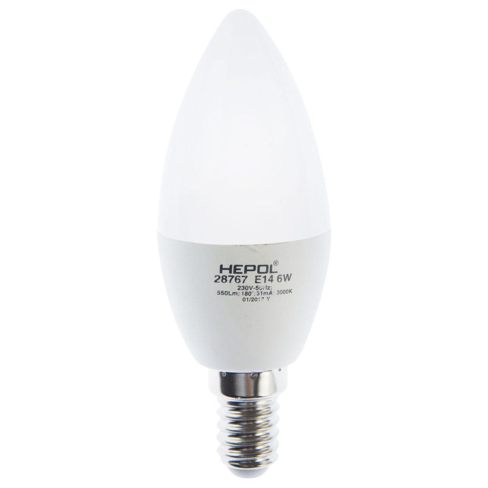 Bec LED HEPOL DIMABIL, forma lumanare, E14, 6W, 30000 ore, lumina calda