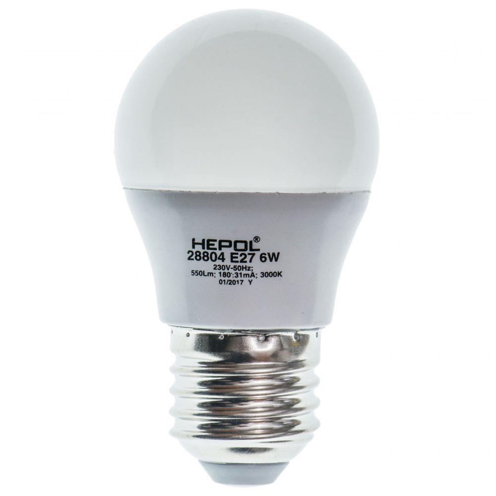 Bec LED HEPOL DIMABIL, forma sferic, E27, 6W, 25000 ore, lumina calda