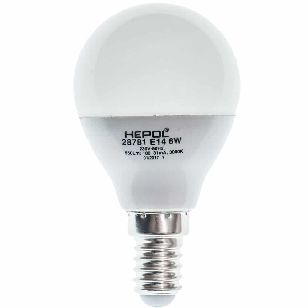 Bec LED HEPOL DIMABIL, forma sferic, E14, 7W, 25000 ore, lumina calda