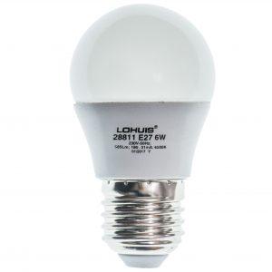 Bec LED LOHUIS DIMABIL, forma sferic, E27, 6W, 25000 ore, lumina rece