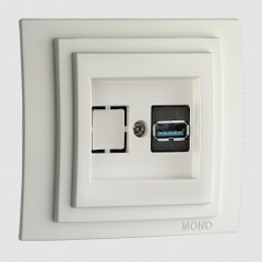 Priza USB Mono Electric, LARISSA, ingropat/ST, alb
