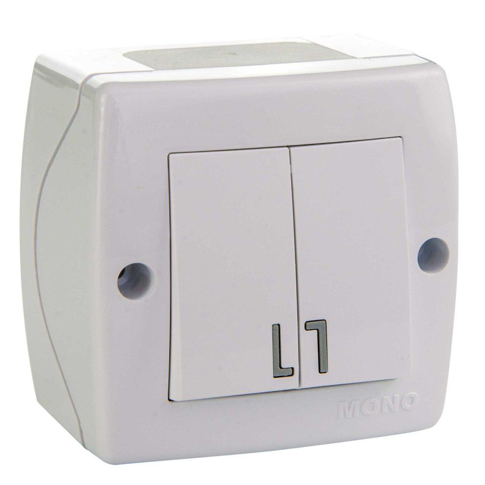 Intrerupator dublu Mono Electric, OCTANS, aparent/PT, alb
