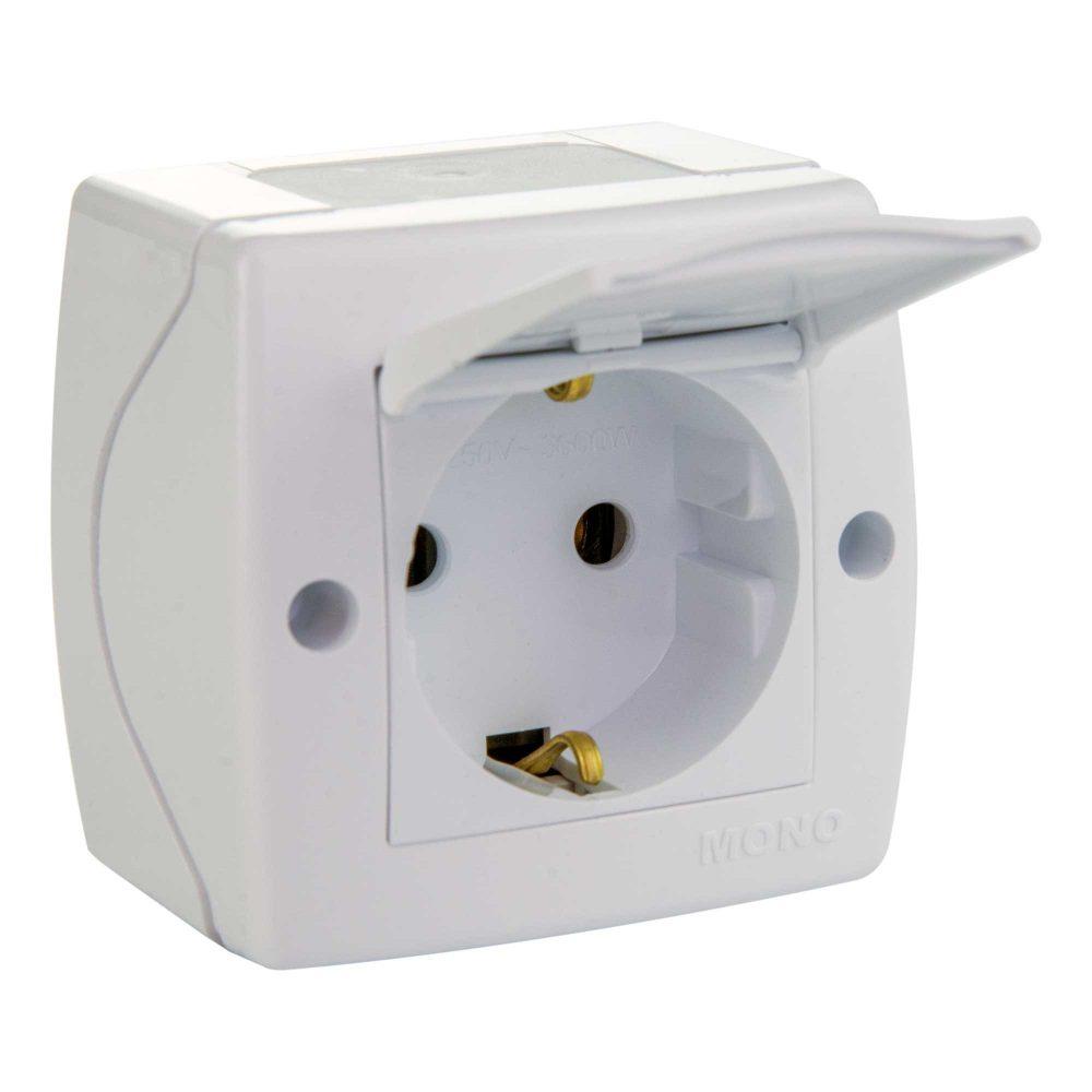 Priza simpla cu capac Mono Electric, OCTANS, aparent/PT, alb