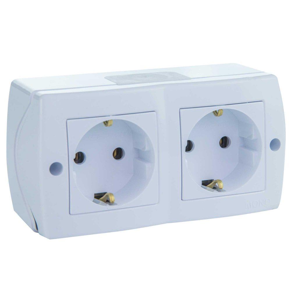 Priza dubla Mono Electric, OCTANS, aparent/PT, alb