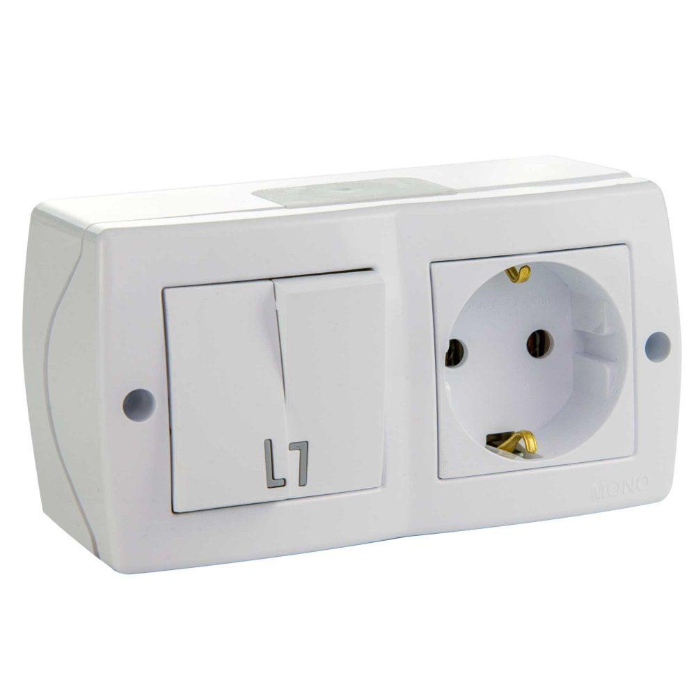 Ansamblu intrerupator dublu si priza simpla cu CP Mono Electric, OCTANS, aparent/PT, alb