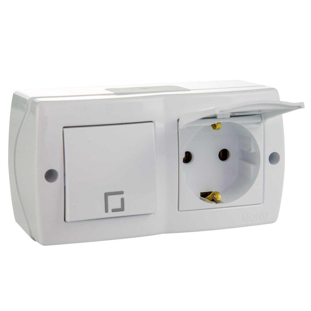 Ansamblu intrerupator simplu si priza simpla cu CP si capac Mono Electric, OCTANS, aparent/PT, alb