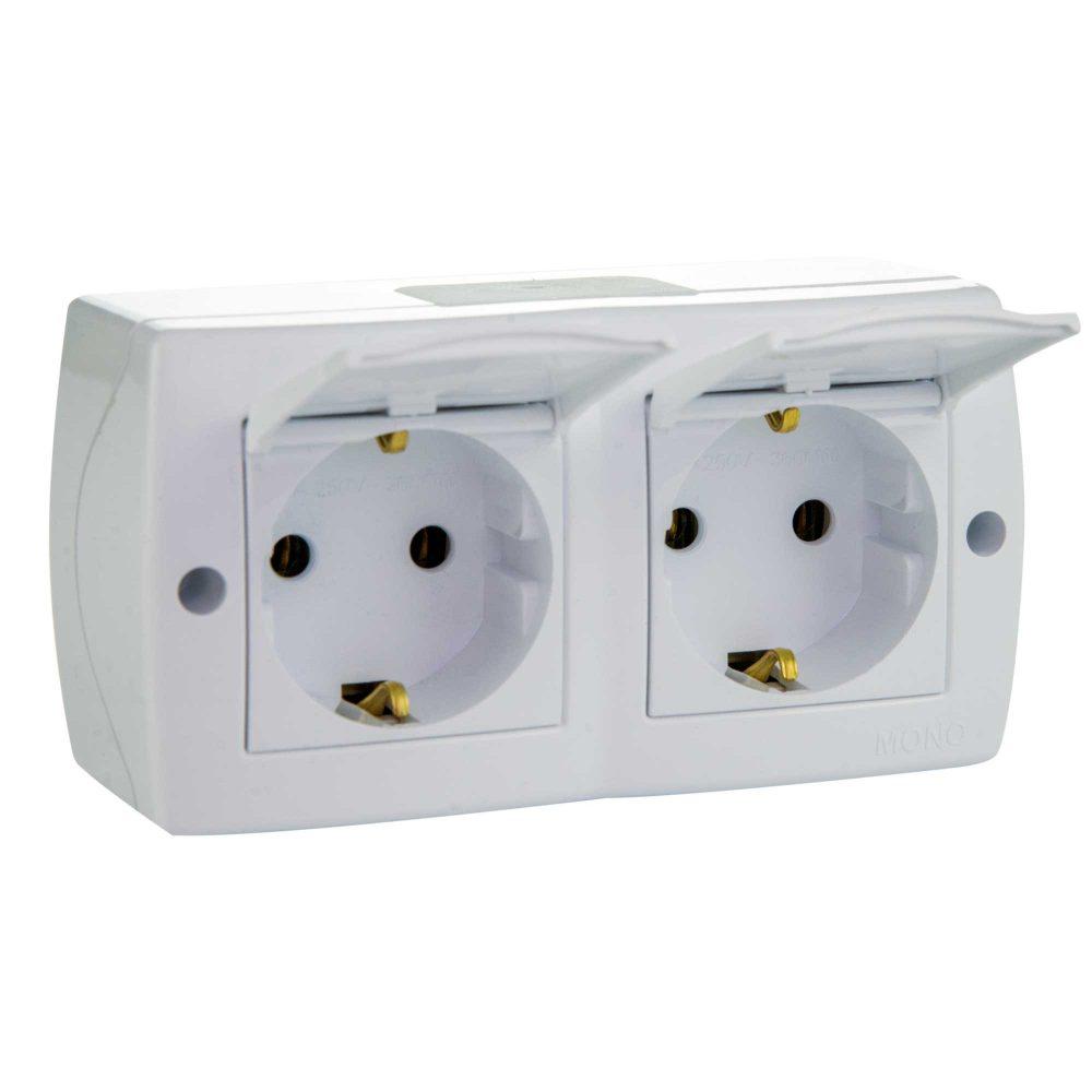 Ansamblu priza dubla cu CP si capac Mono Electric, OCTANS, aparent/PT, alb
