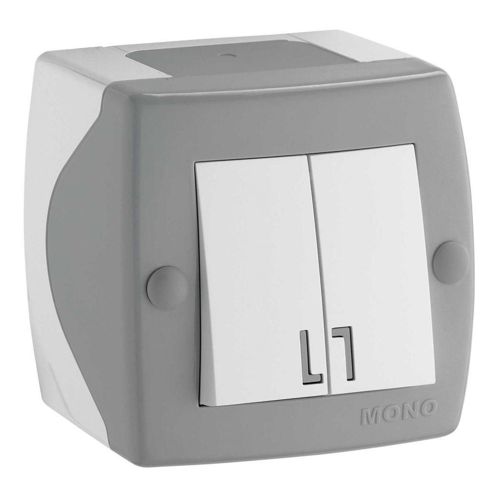 Intrerupator dublu Mono Electric, OCTANS, aparent/PT, gri