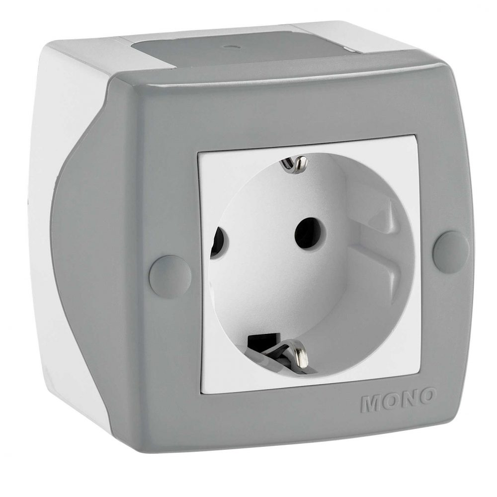 Priza simpla Mono Electric, OCTANS, aparent/PT, gri