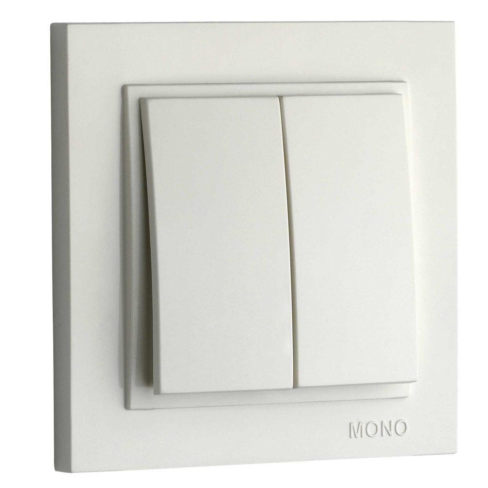 Intrerupator dublu Mono Electric, DESPINA, ingropat/ST, alb