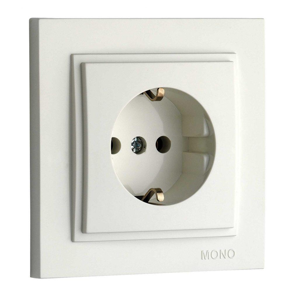 Priza cu CP Mono Electric, DESPINA, ingropat/ST, alb