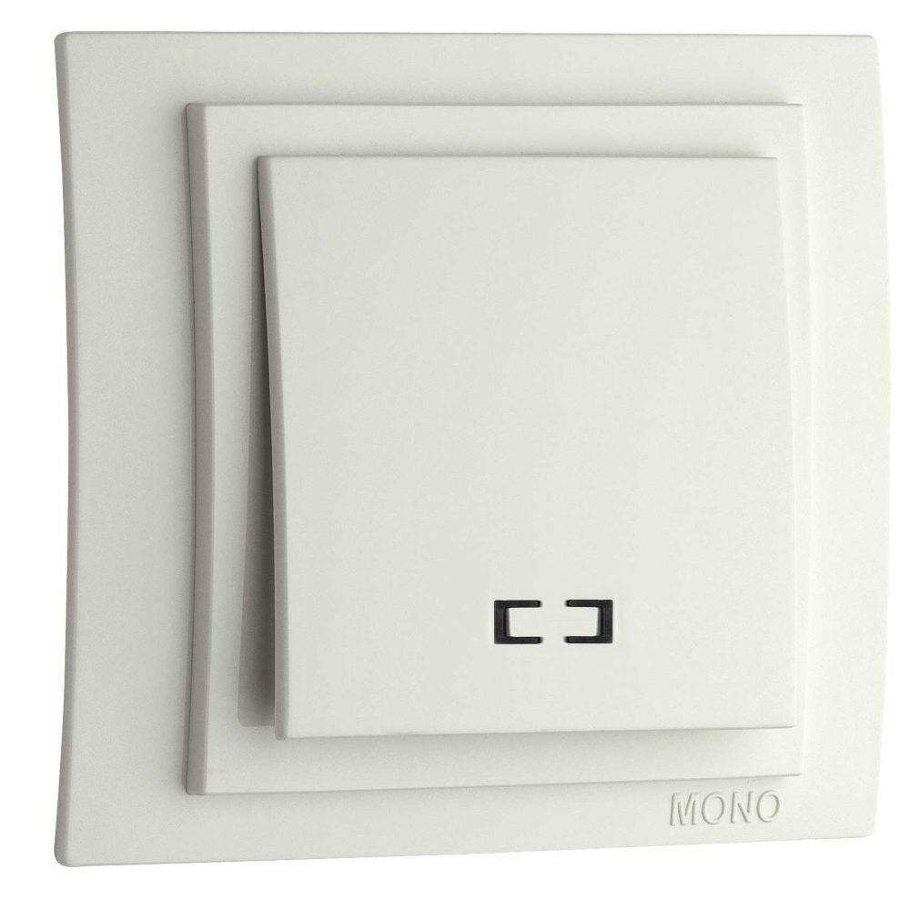 Intrerupator simplu cu LED Mono Electric, LARISSA, ingropat/ST, alb