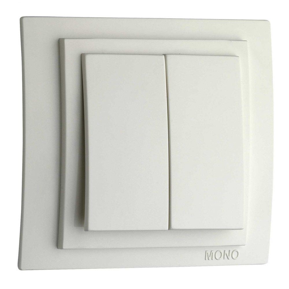 Intrerupator dublu Mono Electric, LARISSA, ingropat/ST, alb