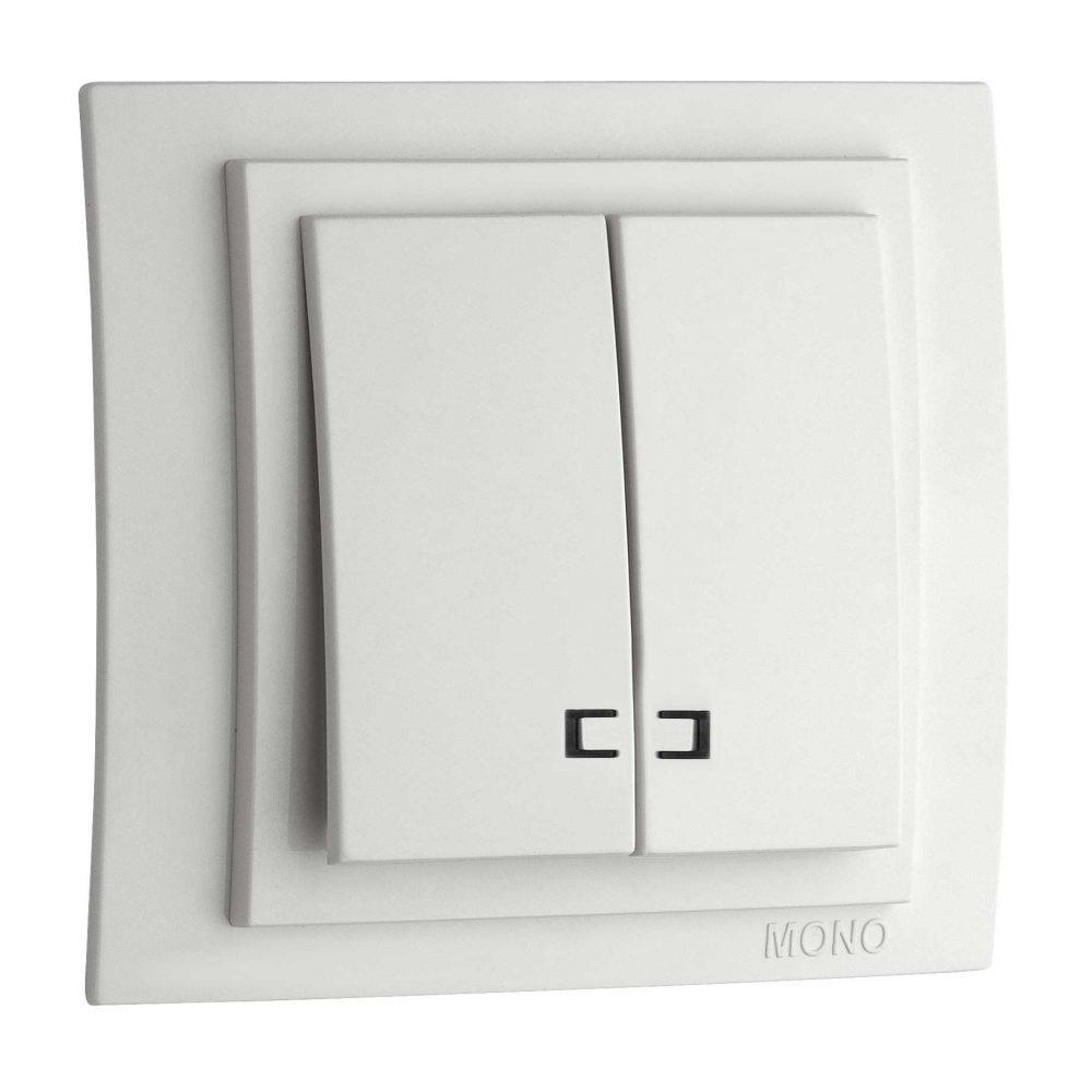 Intrerupator dublu cu LED Mono Electric, LARISSA, ingropat/ST, alb