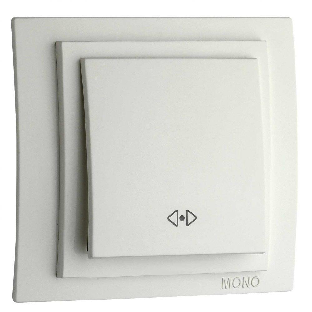 Intrerupator cap cruce Mono Electric, LARISSA, ingropat/ST, alb