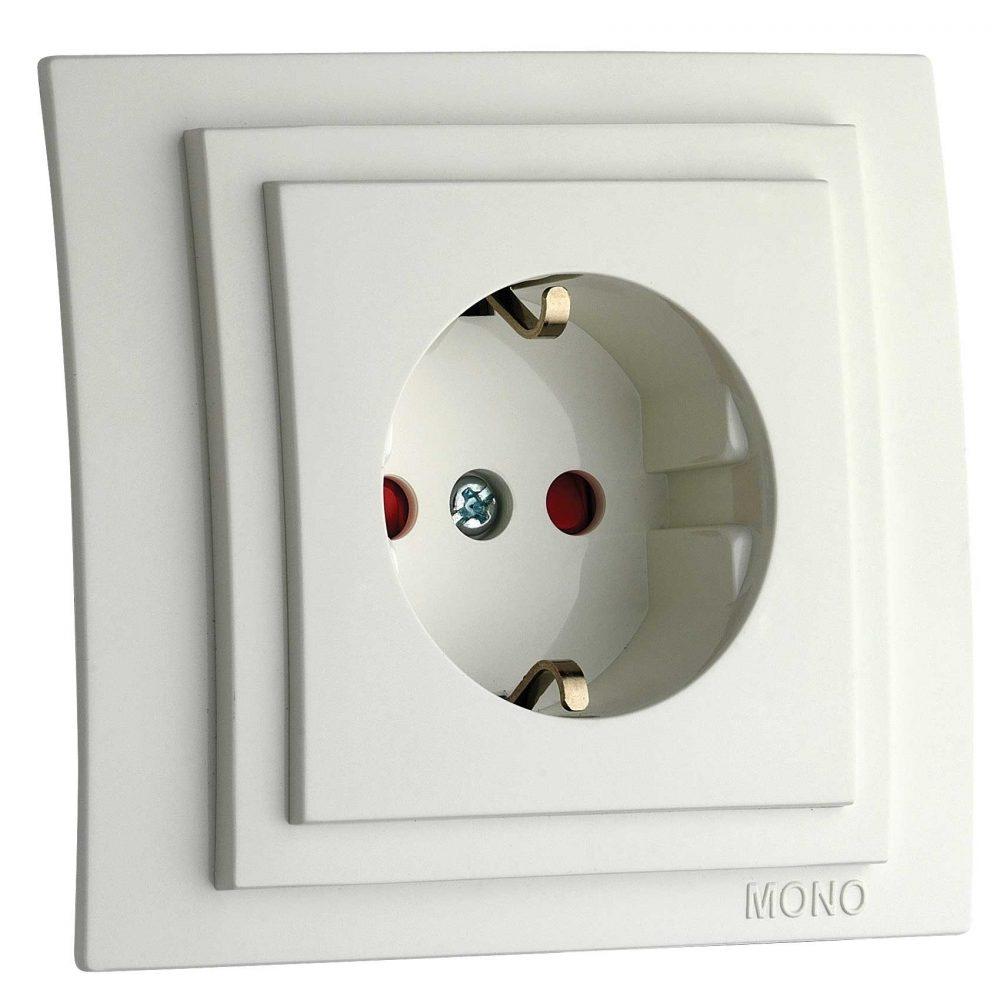 Priza cu CP si protectie copii Mono Electric, LARISSA, ingropat/ST, alb